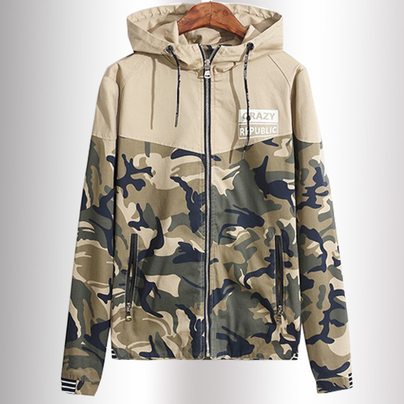 male jackets cotton men's coats Sportswear Spliced Hoodies Young men Deep blue.Khaki Camouflage Jacket Men Windbreaker Jackets(China (Mainland))