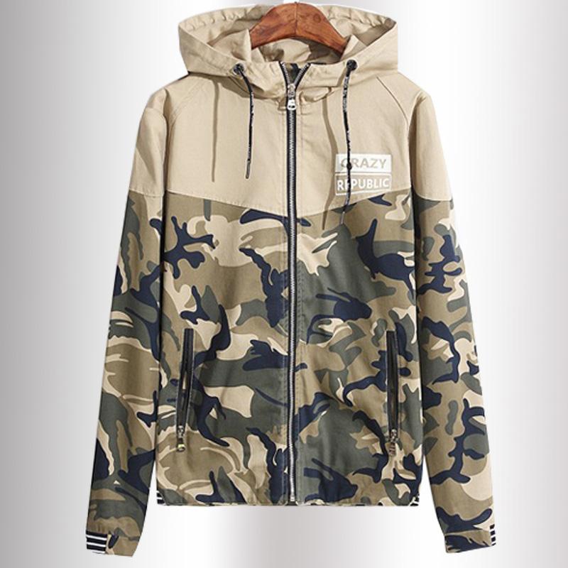 male jackets cotton men's coats Sportswear Spliced Hoodies Young men Deep blue.Khaki Camouflage Jacket Men Windbreaker Jackets(China (Mainland))
