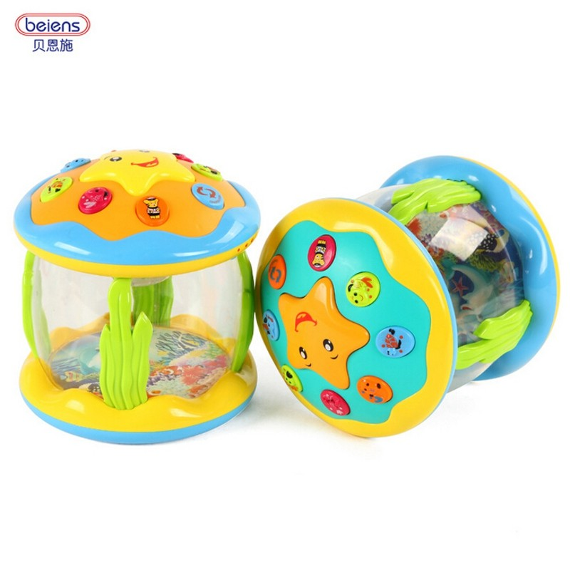 Baby Kids Musical Toys Drum Rattles Toy Light Acousto-optic Tambourine Educational Toys Gift Hand Held Tambourine Drum(China (Mainland))