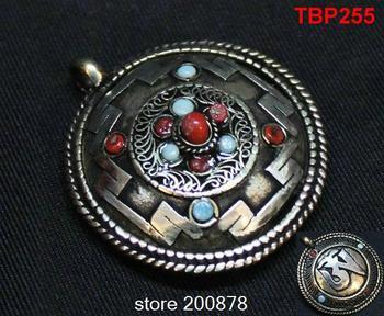 Mandala tibetano tbp255 agrifoglio città pendente amuleto, 40mm, doppi lati ciondoli vintage, tibet gioielli shamballa