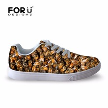 Mens Sport Casual Shoes Spring Autumn Breathable Animal Printed Fashion Men 3D Bee Lace-up Flats - FOR U DESIGNS SHOES store