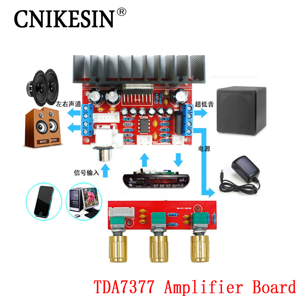 CNIKESIN TDA7377 Amplifier Board Single Power Computer Super bass, 3 Channel Sound and 2.1 power amplifier board diy Sutie(China (Mainland))