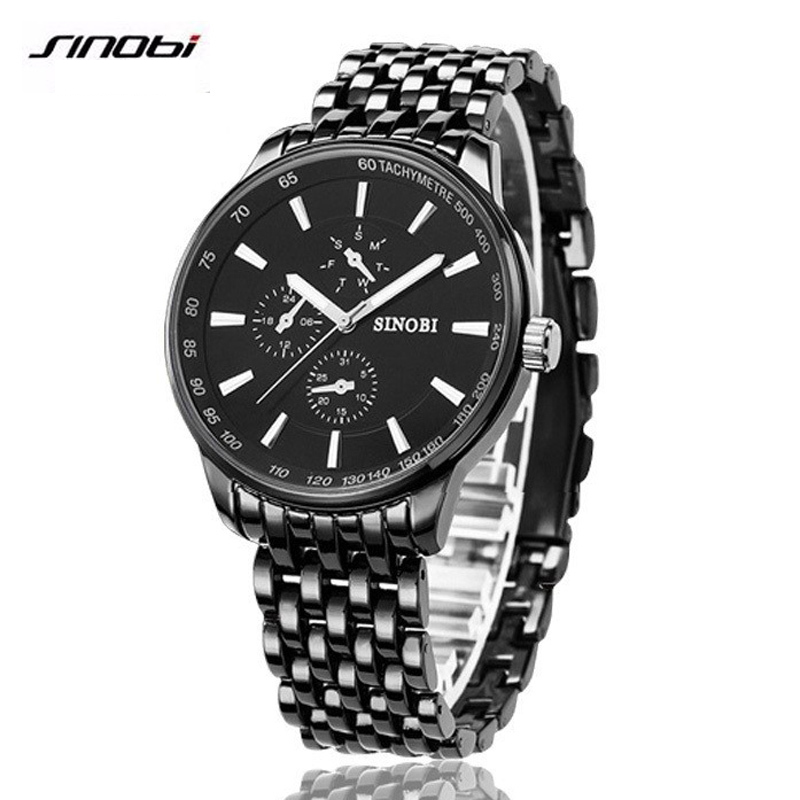 2016 SINOBI Watch Men Quartz Watch Luxury Brand Full Steel Men s Watch Clock Male Waterproof