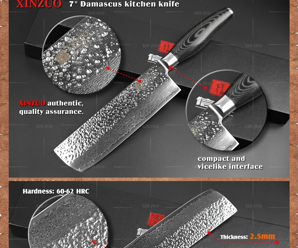"Buy XINZUO 7"" inch chef knife Japanese  73 layers Damascus kitchen knife sharp japanese women chef knife wood handle free shipping cheap"