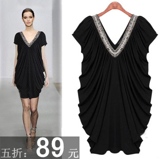 2013 summer fashion mm plus size dress one-piece dress plus size