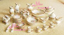 Free Shipping ! 1/12 Scale Dollhouse Miniature Furniture ~Vintage Porcelain Tea Dinner Set 40PCS cooking kitchen girls(China (Mainland))