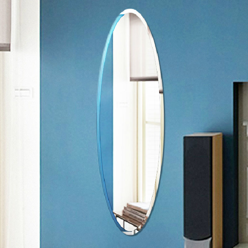 ultra clear glass mirror, oval dressing wall mirror, beveled frameless 420*1400mm beveled wall mirror(China (Mainland))
