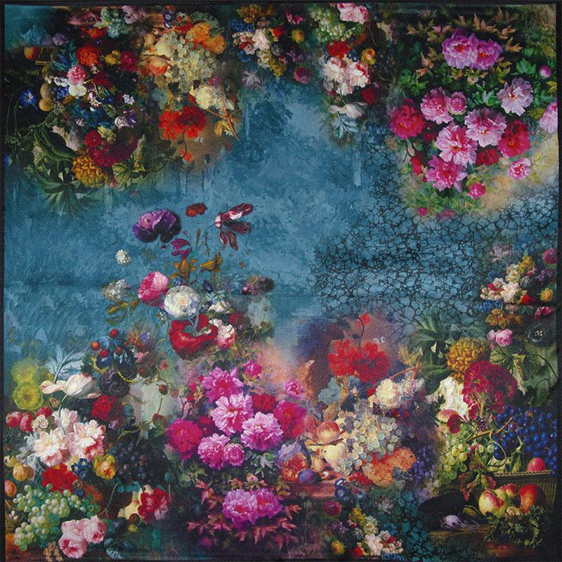 100% Silk Scarf Women Scarf Flower & Fruit Scarf Neckerchief Silk Bandana 2016 Foulard Small Square Silk Scarf Luxury Lady Gift(China (Mainland))