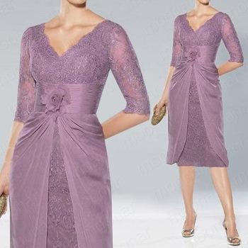 Women s purple v neck empire flower above knee length for Purple dresses for weddings knee length