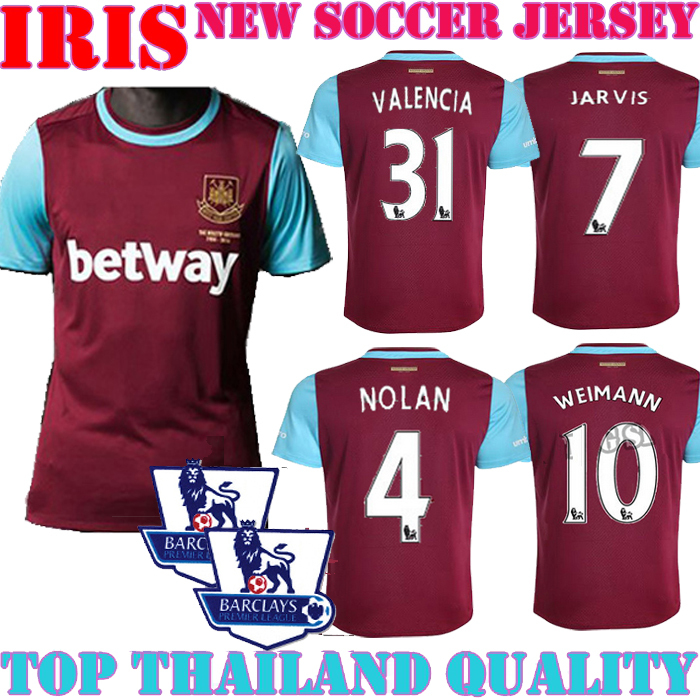 2015 2016 West Ham United jersey home red blue 15 16 West Ham United WEIMANN VLAAR BACUNA COLE BENT BENTEKE football shirt(China (Mainland))