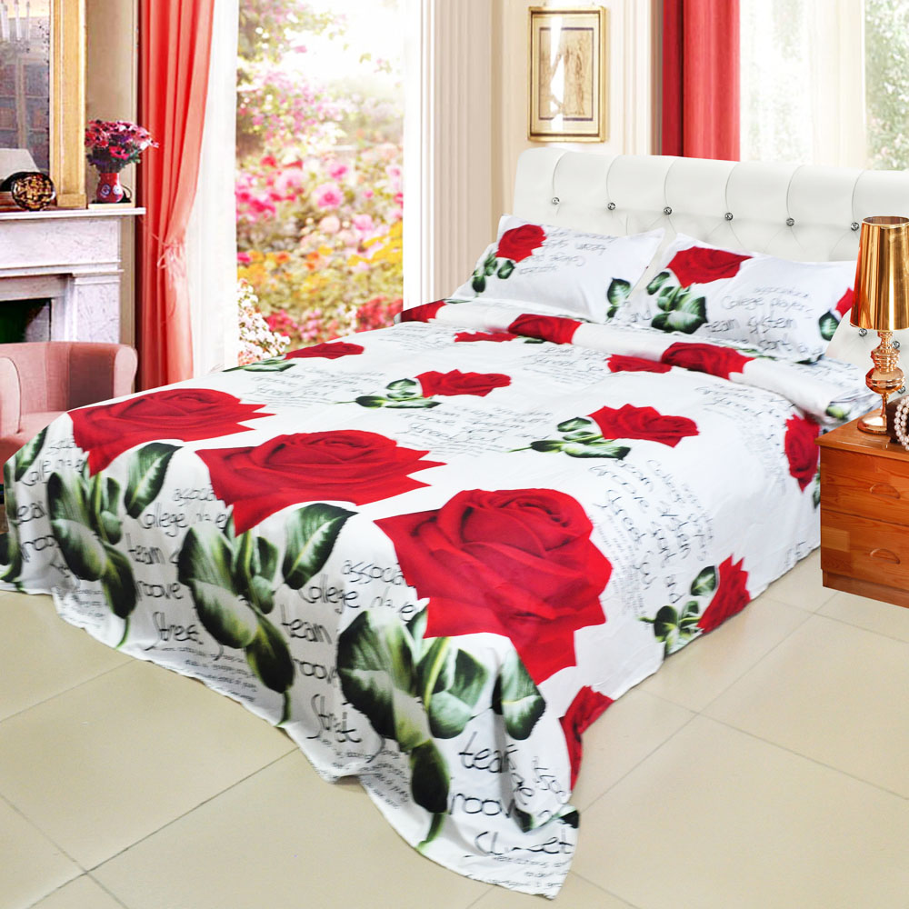 Hot 4pcs 3D Printed Bedding Set Bedclothes Red Rose in Full Bloom Queen/King Size Duvet Cover+Bed Sheet+2 Pillowcases(China (Mainland))