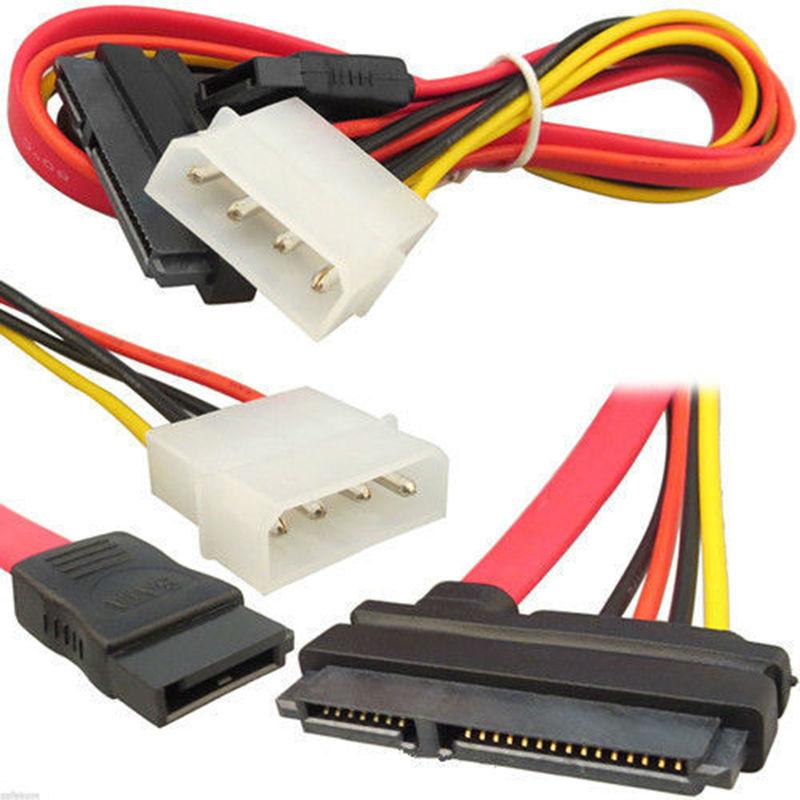 2Pcs SATA Combo Data Cable to 4 Pin IDE Molex & Serial ATA Power HDD DVD Adapter Lead(China (Mainland))