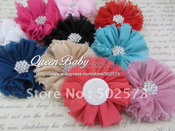 500pcs/lot Vintage  Chiffon Shabby Look Flowers With Metal Crystal Center Flat Back