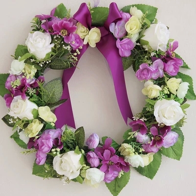 Purple rose artificial flowers wreath garland door for Artificial flowers for wedding decoration