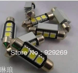 Free shipping 36mm 3 SMD White Dome Festoon CANBUS  Car 3 LED Light Bulb Lamp