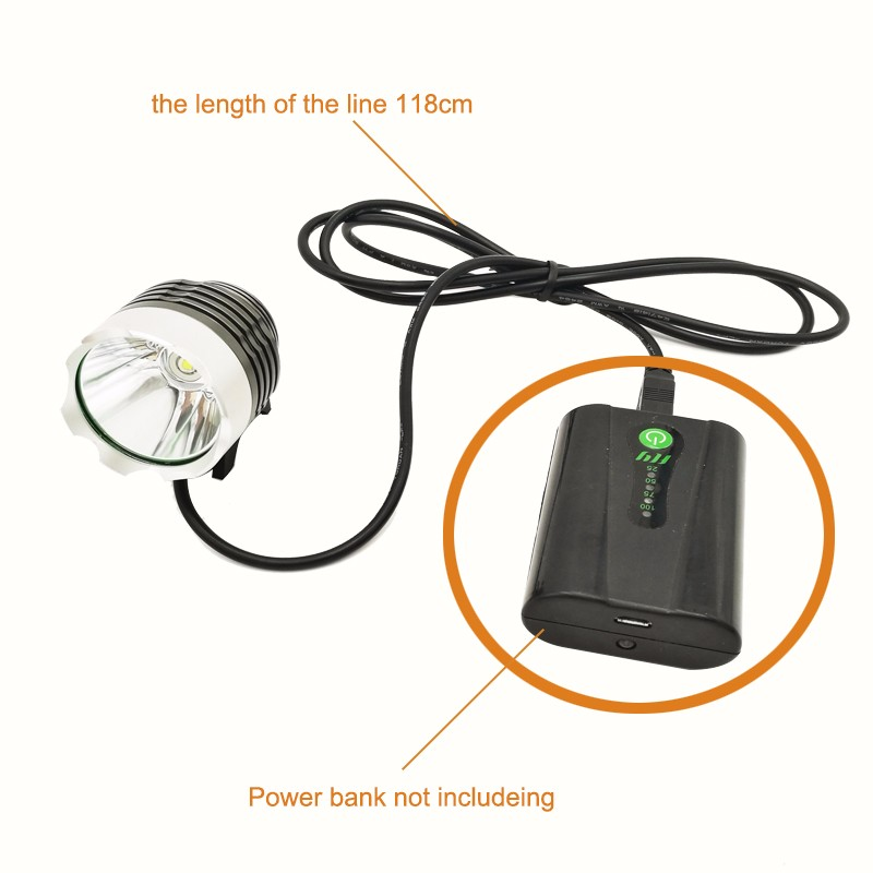 XM-L T6 1500 Lumen LED Bicycle Light Bike Light For Bike Cycling Bike Bicycle Waterpoof Front Light USB powered by power bank