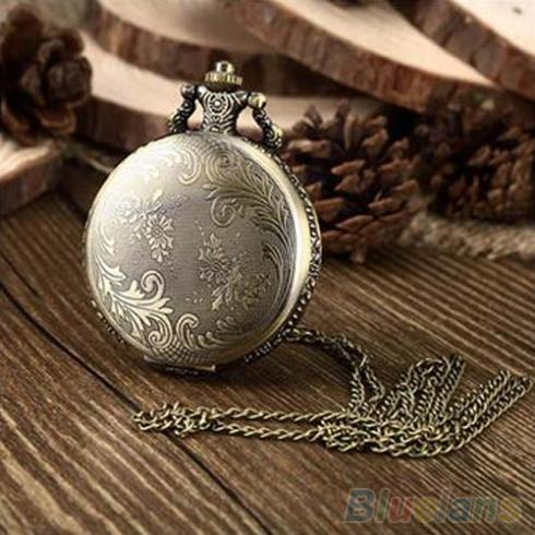 Retro Vintage Unique Bronze Quartz Pendant Chain Necklace Clock Pocket Watch 1K3O