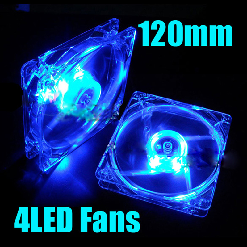 120mm Fans 4 LED 120 x 120 x 25mm 4pin Hydraulic Bearing LED Blue Computer Case Cooling Fan for Computer Case Free Shipping(China (Mainland))