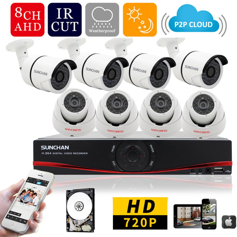Гаджет  SUNCHAN New 8CH AHD DVR Kit 960H NVR Night Vision CCTV 720P Waterproof 1200TVL Home DIY Security Camera Systems 1TB HDD None Безопасность и защита