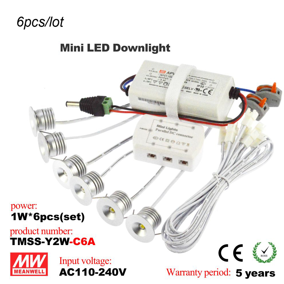 6pcs/lot 1w AC110-240V  Dimmable MeanWell Mini LED spot light LED Ceiling Lamp Embedded down light hole size 25MM  Free Shipping<br><br>Aliexpress
