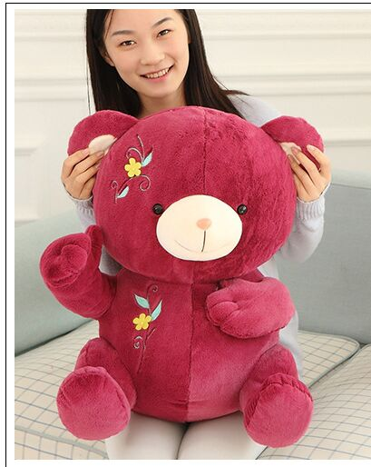 lovely flowers style bear plush toy large 45cm wine red teddy bear doll soft throw pillow ,birthday gift, Xmas gift d2236(China (Mainland))