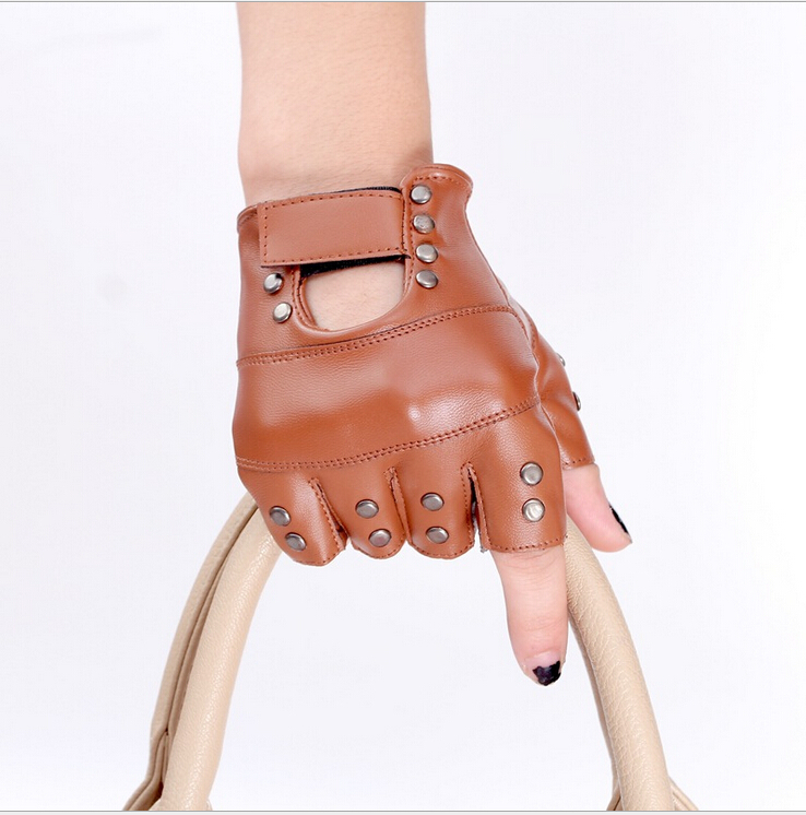 New Fashion Design Motorcycle Glove Mitts Button Hollow Unisex Fashion Half Finger Leather Car Mitten for women fashion export(China (Mainland))