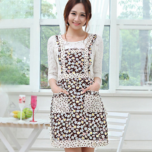 Fashion Canvas Dust Thicken Kitchen Kooking Aprons Printing Double Garden Fresh Princess Apron Cute Floral Great Gift F1322(China (Mainland))