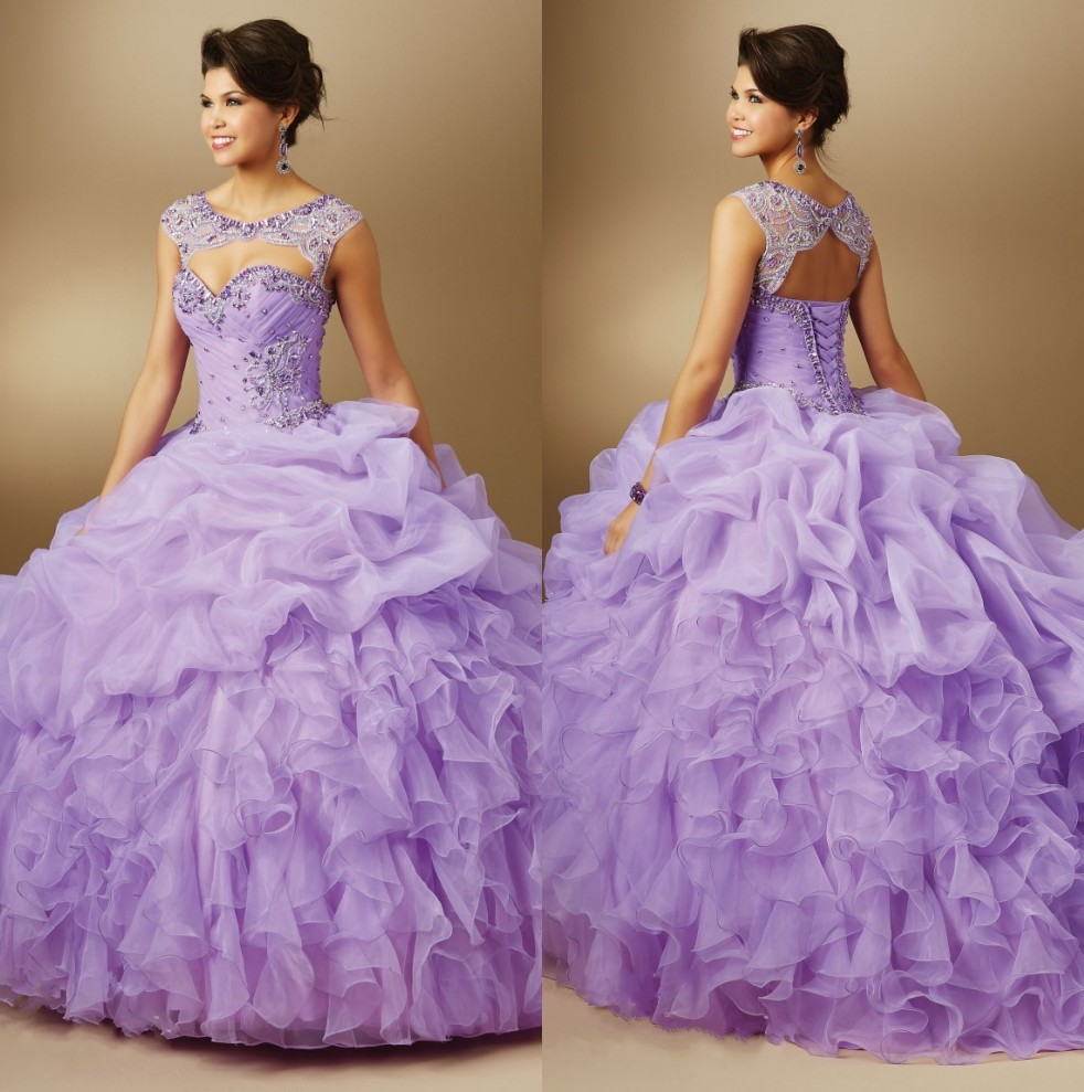 2015 Latest Crystals Beaded Organza Light Purple Quinceanera Dresses Ball Gowns Sweet 15 years Party Gowns Cap Sleeves Removable(China (Mainland))