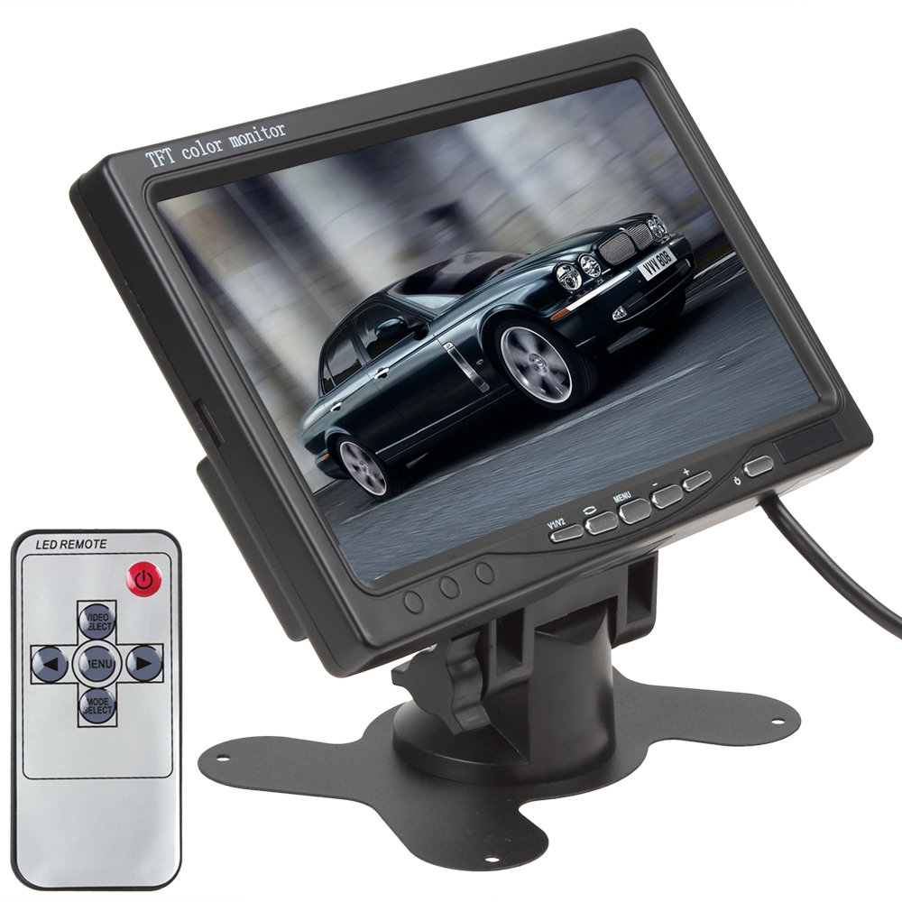 Sale 7 Inch TFT Color LCD Parking Car Rearview Headrest Monitor For Camera DVD VCR VCD, 2 Video Input, Free Shipping, In Stock(China (Mainland))