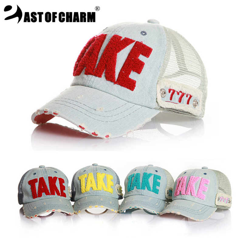 2016 New Fashion Denim letters Embroidery Child Baseball Cap Baby Cap For Boy Girl Hat Kid Cap Summer Mesh Sun Hat Drop Shipping(China (Mainland))
