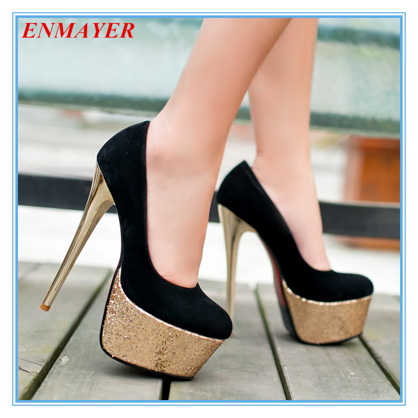 ENMAYER sexy ultra-high heels women shoes sparkle glitter thin heel platform pumps solid round toe women pumps black blue red<br><br>Aliexpress