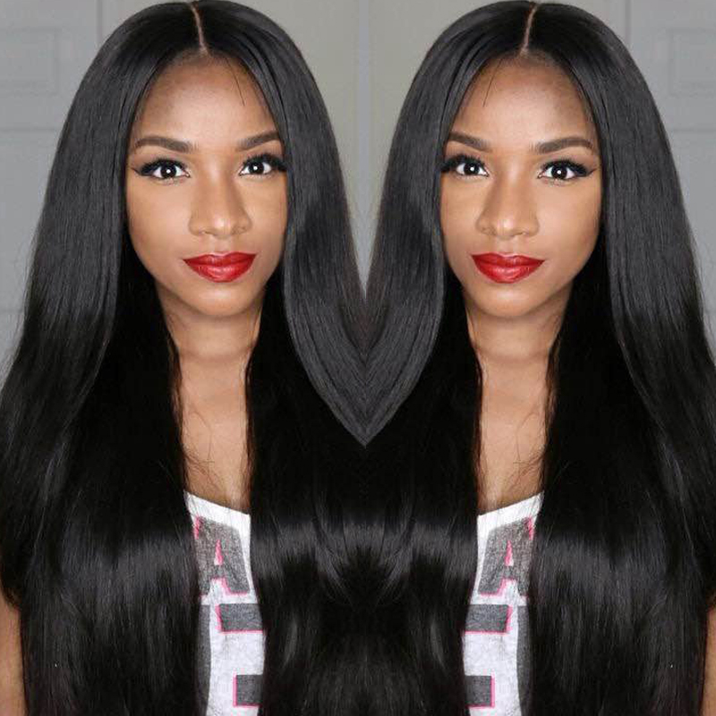 JK Brazilian Virgin Full Lace Human Hair Wigs Glueless Full Lace Front Wig Natural Black Straight Wigs for Black Women Free Part(China (Mainland))