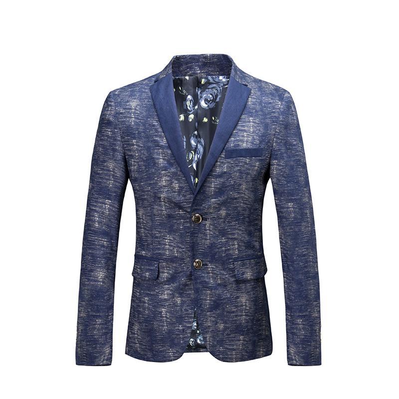 Royal Blue Blazer Linen 2015 Autumn Luxury Blazer Masculino Slim FIt Business Party Prom Wedding Mens Printed Blazer JacketОдежда и ак�е��уары<br><br><br>Aliexpress