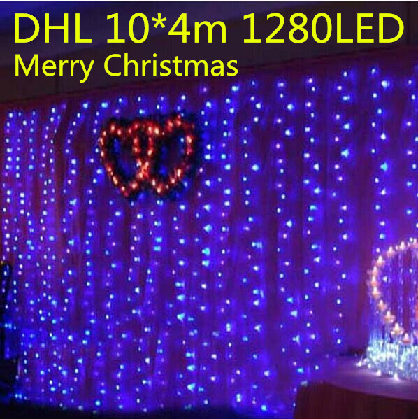 10M X 4M, 1280 Led Icicle Curtain lights String Christmas Xmas wedding White/Warm/Blue/Yellow/Red/Pink/Purple/Blue,Factory Store(China (Mainland))
