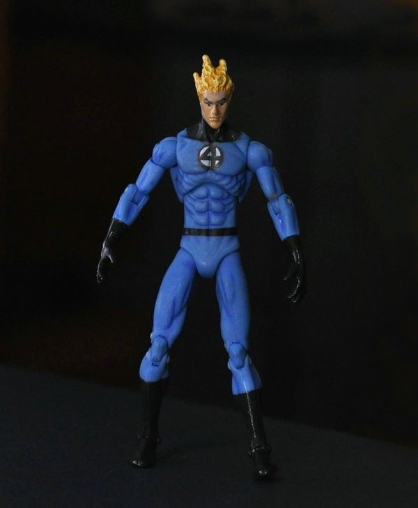 "Marvel SUPER HERO Fantastic Four HUMAN TORCH 3.75"" Loose Auction Figure ZX163(China (Mainland))"