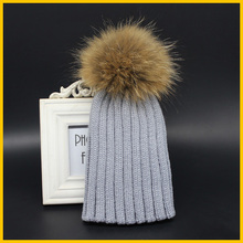 2015 Fashion Children Winter Raccoon Fur Hats 100% Real 15cm Fur pom pom Beanies Cap Natural Fur Hat For Kids Children(China (Mainland))