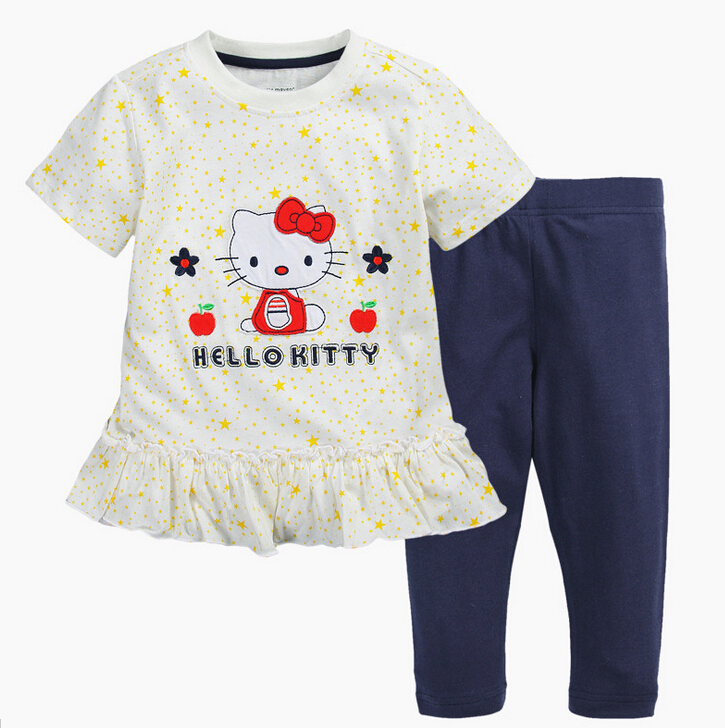 Branded 100% Cotton Girls Hello Kitty Cute Toddler 2pcs Children Suits Summer Baby Kids Clothing Sets Shorts Sleeve Tops Pants(China (Mainland))