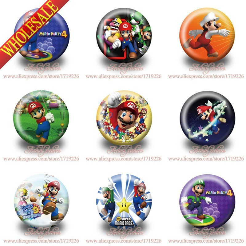Hot game Super Mario 9pcs/lot Hot cartoon Pin Badge Buttons 30mm Cartoon Badge party favors kid party favors cloth decoration(China (Mainland))