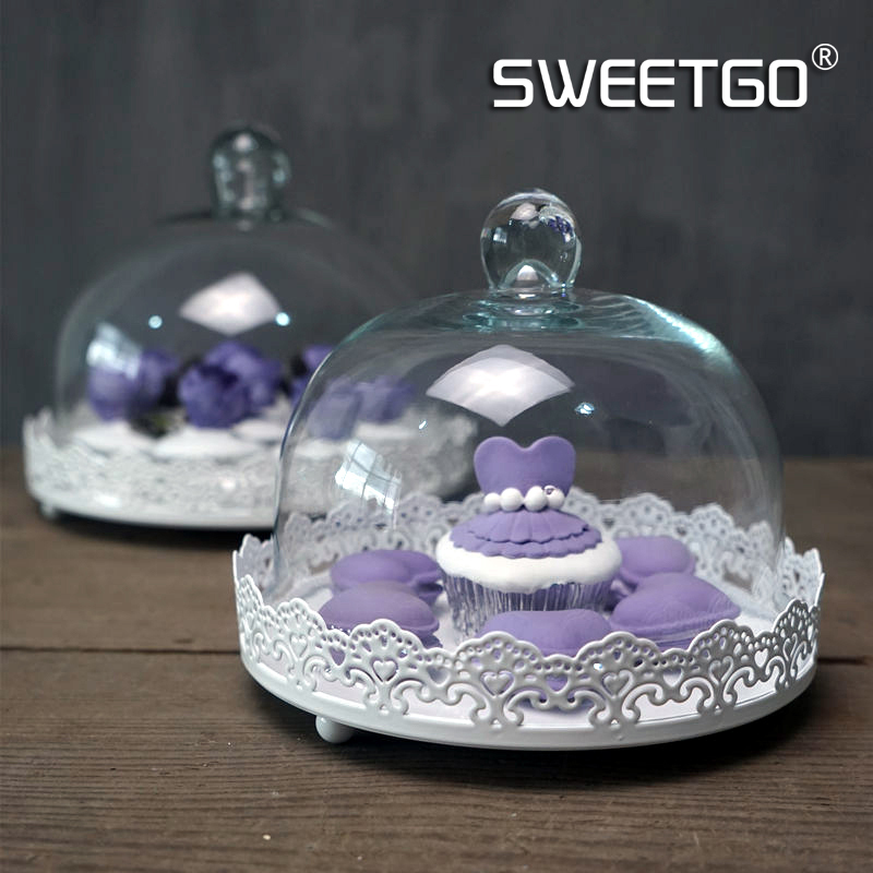 1 Pcs Round Wedding Pastry Platter Reusable Cake Doilies Decorative Cake Fruit Dessert Plate Pan With Glass Cover #1511020(China (Mainland))