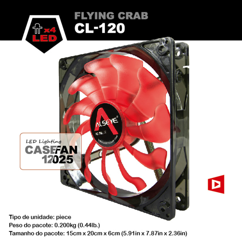 ALSEYE CL-120R 120mm red and blue led case fan for computer 1800 RPM Crab leg 3 pin 12v radiator pc cooler fan cooling(China (Mainland))
