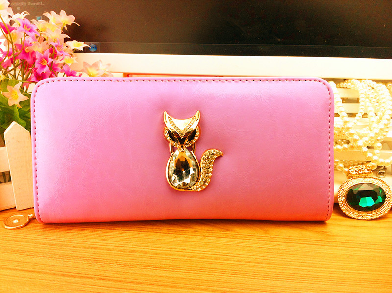 New designer wallets famous brand women wallet 2014 high Capacity Purse Clutch Patent leather fox carteira masculina couro(China (Mainland))