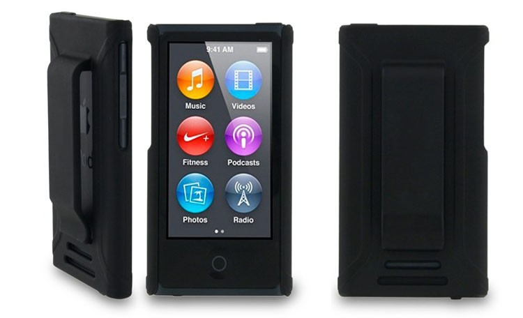 Free shipping high quality black color case for ipod nano 7 clip, case for ipod nano with clip, cover for ipod nano 7(China (Mainland))