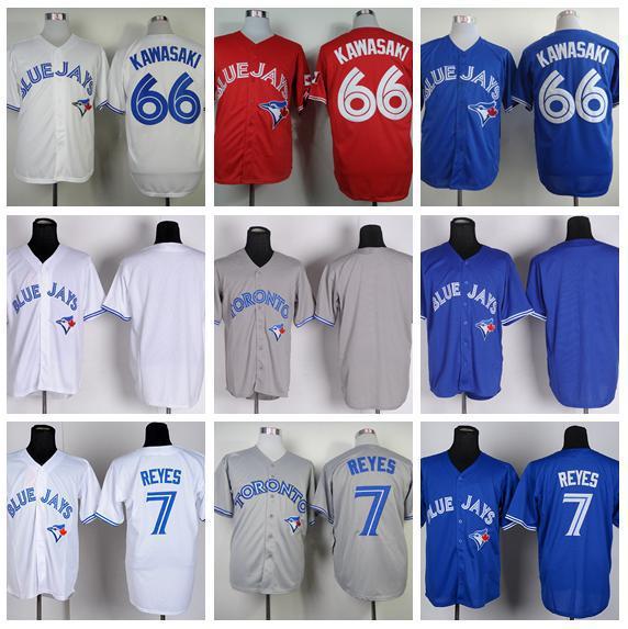 2014 Men's 19 Jose Bautista Jersey Baseball Throwback 7 Jose Reyes 66 Munenori Kawasaki 56 Mark Buehrle Toronto Blue Jays Jersey(China (Mainland))