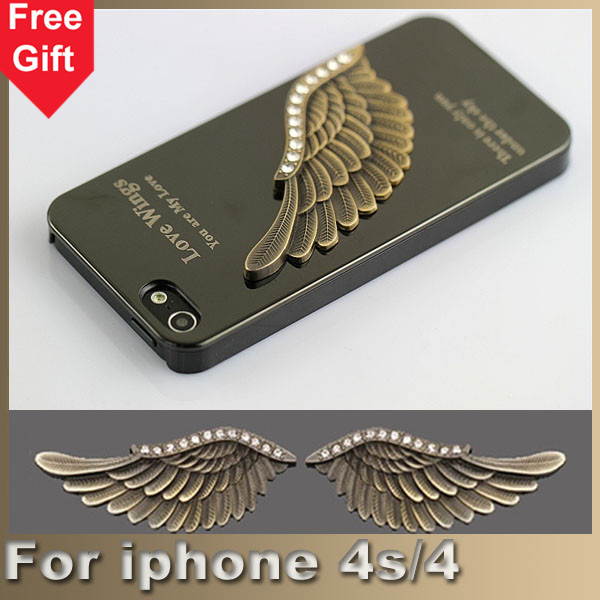 Luxury 3D Embossed Eagle Wing Aluminum Hard Case Cover For iPhone 4s 4 metal sheel cases(China (Mainland))
