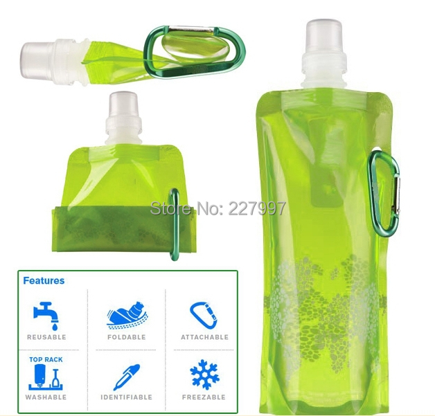 100PCS Portable Folding Collapsible Reusable Water Bottle Plastic Bag Outdoor Sport Travel Cycling Camping Guaranteed DHL Free(China (Mainland))