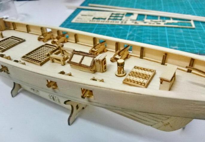 Hot Sale 1:130 Laser-cut Wooden sailboat model kit Harvey 1847 western Sail boat Free 1 set 36mm Brass cannon(China (Mainland))