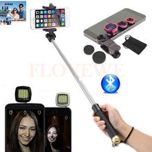 Buy Phone Lentes Kit Macro Wide Angle Fisheye Lens Selfie Flash Fill Light Bluetooth Selfie Stick Monopod iPhone Samsung Xiaomi for $9.35 in AliExpress store