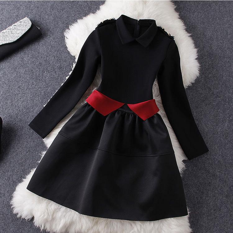 2015 Europe Women's Boutique Dress Waist Hit Color Long-sleeved Women Dress Plus Size Women Clothing Vestidos Femininos DM2086
