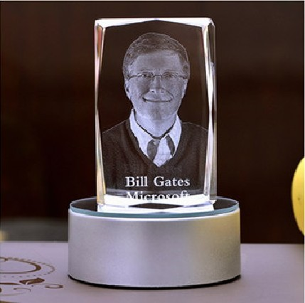 Bill Gates 3D crystal statue schools within the corporate office IT creative gift inspirational Decoration(China (Mainland))