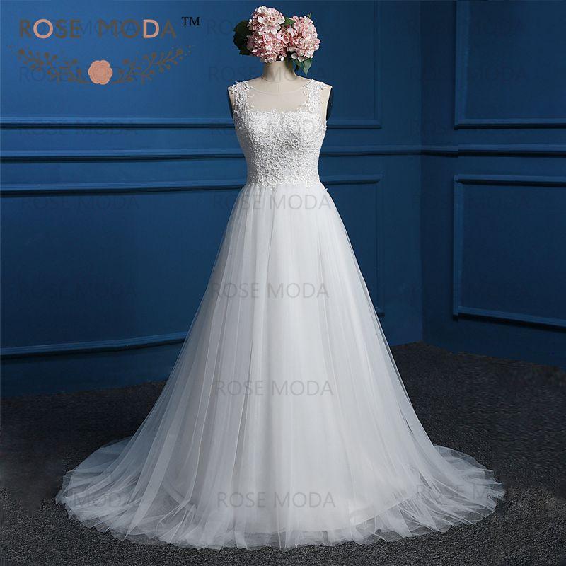 Beaded Illusion Back Wedding Dress